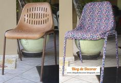 """Step-by-step: """"My"""" First Chair Restored with Cloth and Cola - BE Decoration Decoupage, Easy Jobs, Table And Chairs, Printing On Fabric, Restoration, Recycling, Sweet Home, Blog, Furniture"""