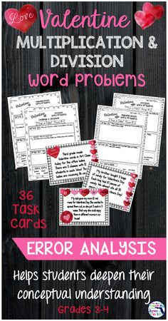 This Valentine math activity for 3rd and 4th grade will raise the rigor in your math block! Use it for centers, partner work, or fun remediation. Your students will use error analysis to solve multiplication and division word problems and use writing to explain their thinking. Click here to see more!