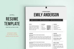 Resume Template  Cover Letter Word By Pappermint On