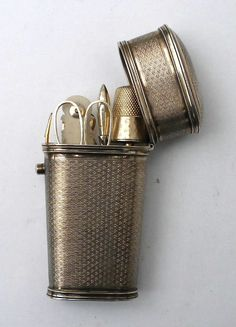 A very fine early 20th C. French silver gilt etui. All the silver gilt contents carry French marks.  1/2