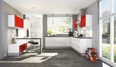Einbauküche Aspen in Weiß/Hochglanz Rot
