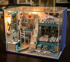Kinder DIY handgemachtes Spielzeug Modell Startseite Geburtstag Geschenk Warmming Haus Möbel Kinderzimmer mit Licht