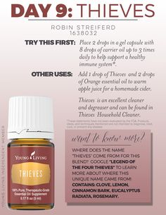 14 Day Challenge Day 9: Thieves Essential Oil - For more information about Young Living's Essential Oils or other products,please contact me at rstreiferd@gmail.com, or go to my website: youngliving.org/bellas05 ♥ Robin ♥ #yleoFamily