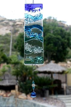 Fused Glass Suncatcher- Blue Waves w/ Blue Faceted Crystal via Etsy