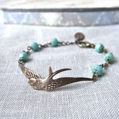 soaring bird and turquoise bracelet by gama | notonthehighstreet.com