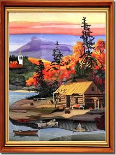 BFC773 The first of our Four Seasons series of design sets shows autumn in all it's glorious splendor. The other three pictures will take the same scene through the different seasons. In addition to the glimpse you see here, there will be some water, a small boat waiting to take the cabin's occupants across the river to town and even a Church Steeple on a far hill. And there will be lots of autumn colors! You get instructions on how to complete your picture.
