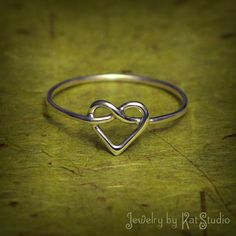 Knot Heart Ring - love knot ring - Infinity Heart - Sterling Silver... ($21) ❤ liked on Polyvore