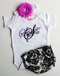 Baby girl clothes monogram onesie personalized onesie by lilmamas damask purple and black personalized baby girl clothes newborn girl take home outfit damask diaper cover flower headband baby gift set negle Choice Image