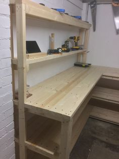 Woodworking That Sell Tools .Woodworking That Sell Tools Garage Organization Tips, Garage Tool Storage, Garage Shelving, Garage Tools, Shelves, Diy Garage Work Bench, Garage Workbench Plans, Diy Workbench, Woodworking Bench