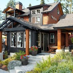 View from waterside bluff. - rustic - Exterior - Seattle - Dan Nelson, Designs Northwest Architects