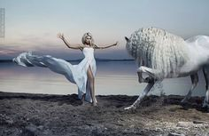 Girl dancing with horse on the beach. So stunning and powerful!