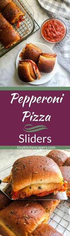 These Pepperoni Pizza Sliders have all of the flavors of a slice of pizza in a fun little sandwich. Pepperoni-a-plenty sanwiched between 2 layers of cheese and pizza sauce with a buttery italian seasoned topping! #sliders #pepperoni #pizza #gameday #football | tinykitchencapers.com