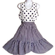 """Vintage Striped, Crisp Skirt & Polkadots Tank Adorable combo from the 1980s. Skirt has """"overlapping"""" ruffles along the bottom. Comes with a summery tank with polka dots, an ideal mix and match of patterns. Skirt measures 13 inches at the waist, length is 24 inches, two side pockets, has zipper and button closure in back. Top is 20 inches across from armpit to armpit and 23.5 inches long. Both pieces are 100% cotton. Vintage Dresses"""