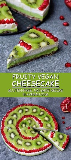 This no-bake kiwi avocado pie is vegan gluten-free paleo-friendly refined sugar-free and perfect for the summer! The post Fruity Cheesecake (Vegan) appeared first on Orchid Dessert. Avocado Dessert, Avocado Pie, Avocado Toast, Avocado Cheesecake, Avocado Recipes, Baked Avocado, Cheesecake Cake, New York Cheesecake Rezept, Gluten Free Cheesecake
