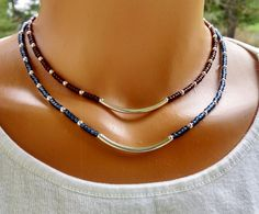 Silver and blue beaded necklace, silver and brown beaded necklace, beaded choker, layering necklaces, boho chic beaded necklace, by TamDavisDesigns on Etsy