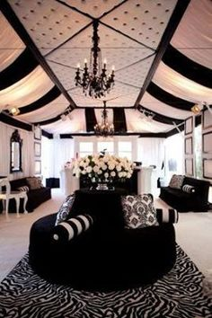 black and white lounge seating area