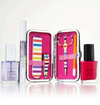 """Nail Perfection Ultimate Manicure Collection. """"Treat mom to a special manicure with our ultimate nail collection! Gift set comes packaged and ready to give!""""   Set includes:  Nail Experts Conditioning Pen .05 fl. oz. A $6.50 value.  Pretty Paradise Manicure Set 4¼"""" L x 2½"""" W x ¾"""" H. A $4.99 value.  Nail Experts UV Gloss Guard Top Coat .4 fl. oz. A $6.50 value.  NAILWEAR PRO+ Nail Enamel in Watermelon or Real Red .4 fl. oz. A $6.00 value."""