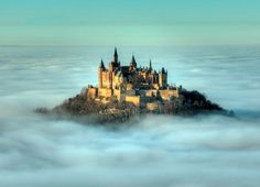 Hohenzollern castle, the ancestral home of the House of Hohenzollern, shrouded in fog during an atmospheric inversion near Hechingen, Germany