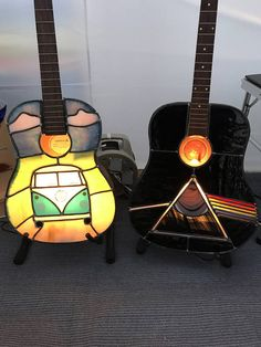Stained Glass Guitar Lamp Pink Floyd Dark Side of the Moon VW