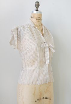 vintage 1940s striped blouse | Wellesley Courtyard Blouse