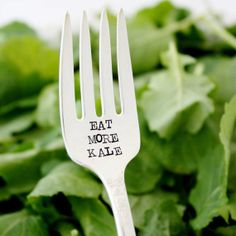 Eat More Kale. Vintage hand stamped fork for healthy living and vegetarian living. By Milk & Honey