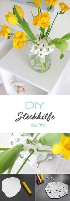 Dani von Gingered Things zeigt dir auf ihrem DIY Blog wie sie aus Fimo eine schöne und dekorative Steckhilfe für kleine Blumensträuße oder einzelne Blumen macht. Perfekte Deko.
