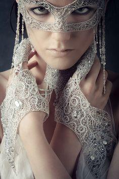 Claire Prebble Couture. Sterling silver, Swarovski crystals, glass beads, semi-precious stones, silk.