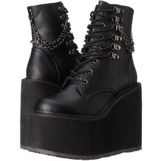 Demonia Women's SWI101/BVL Combat Boot ($68) ❤ liked on Polyvore featuring shoes, boots, demonia boots, combat booties, army boots, demonia footwear and military boots
