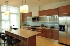 Horizontal grain wood cabinets - simple with interest