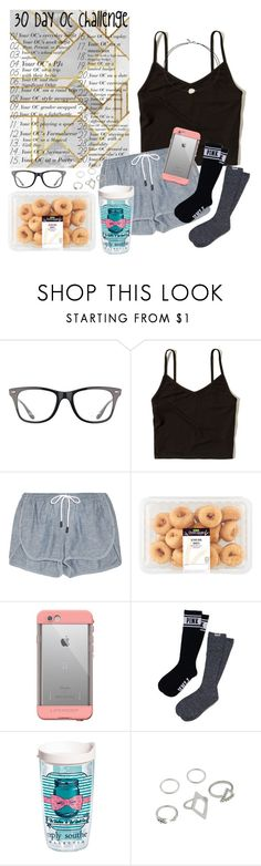 """""""Day 10: me in a fight or battle........also just got a simply southern tervis yesterday!"""" by maris3456 ❤ liked on Polyvore featuring Ray-Ban, Hollister Co., rag & bone, LifeProof, Victoria's Secret PINK, Tervis, Vanessa Mooney, tired, comfy and Sleepy"""