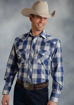 Roper® Men's Blue Plaid Embroidered Long Sleeve Cowboy Shirt