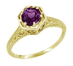 Art Deco Amethyst Engraved Filigree Ring in 14 Karat Yellow Gold - $390 - http://www.antiquejewelrymall.com/r233y.html