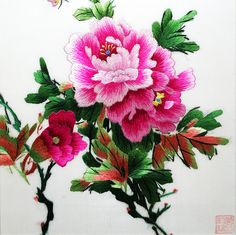 Pink Peonies #Beautiful #Handmade #Silk #Embroidery #Art 36188 https://www.amazon.com/King-Silk-Art-Embroidery-36188_36189WFB1/dp/B011DKKD6G Peonies are a traditional floral symbol of China, and were formally designated National Emblems. In Feng Shui, peonies are perfect for Money and Fame Corners. Red is a lucky color and pink promotes love.