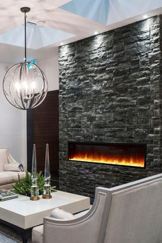 Inspire your fireplace! Stunning thin stone veneer to inspire any renovation. Find your perfect stone today. Modern Stone Fireplace, Home Fireplace, Fireplace Ideas, Fireplace Design, Fireplaces, Stone Wall Living Room, Accent Walls In Living Room, Stone Veneer Panels, Thin Stone Veneer