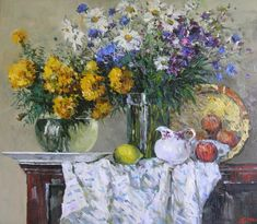 Flowers and fruits. Oil on canvas. Decorating Your Home, Oil On Canvas, Fruit, Flowers, Painting, Ideas, Painting Art, Paintings, Royal Icing Flowers