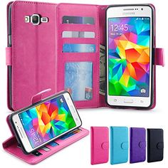 Grand Prime Case, LK Galaxy Grand Prime Wallet Case, Luxury PU Leather Case Flip Cover with Card Slots Stand For Samsung Galaxy Grand Prime, HOT PINK
