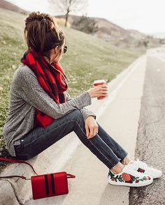 #winter #fashion /  Tartan Scarf + Flower Print Sneakers