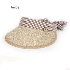 Leisure plaid sun visor hat for women bow straw hats riding beach wear