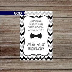 Chevron Will You Be My Ring Bearer Card with Bow Tie  Check out this item in my Etsy shop https://www.etsy.com/listing/266147830/will-you-be-my-ring-bearer-card-with-bow