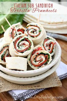 Italian Sub Sandwich Tortilla Pinwheels by Let's Dish Recipes