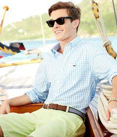 Men's Blue and white checkered button down | Vineyard Vines
