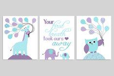 Aqua and Purple Baby Decor Giraffe Nursery Owl Baby Print Lila Baby, Baby Girl Owl, Baby Owls, Giraffe Nursery, Nursery Art, Nursery Decor, Nursery Quotes, Jungle Nursery, Nursery Ideas