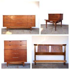 "My walnut bedroom set, Kent Coffey ""The Tableau"" (minus the headboard, plus a second nightstand)."