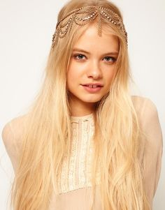 Hanging Crystal and Chain Hairband from asos. Shop more products from asos on Wanelo. Summer Hairstyles, Cute Hairstyles, Wedding Hairstyles, Chain Headpiece, Hair Chains, Crown, Hair Jewelry, Jewellery, Hair Pieces