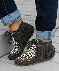 Leopard & Leather Moccasins - 10
