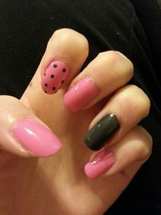 Pink and charcoal grey nails