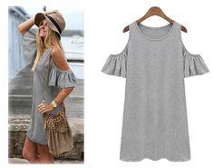 Women Butterfly Sleeve Cotton Cute Strap off Shoulder Vest dress plus size