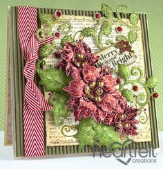 Sparkling Poinsettia Notes Christmas card from #heartfeltcreations