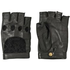 NINA RICCI Lace And Nappa Leather Gloves ($356) ❤ liked on Polyvore featuring accessories, gloves, fillers, other, black, lace fingerless gloves, nina ricci, fingerless gloves, nappa leather gloves and lace gloves