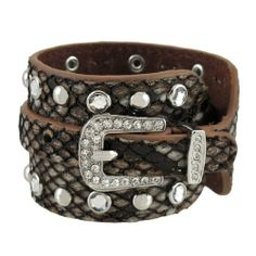 Brown Leather Snakeskin Texture Wrap Bracelet Rhinestone Studded Things2Die4. $19.99. Rhinestone Buckle. Makes A Great Gift. Chrome Studs. Genuine Leather